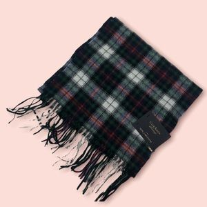 Club Room Plaid 100% Cashmere Greens White Red Scarf Fringe NEW $120